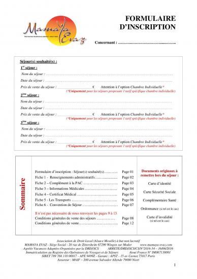 Formulaire d inscription 2020